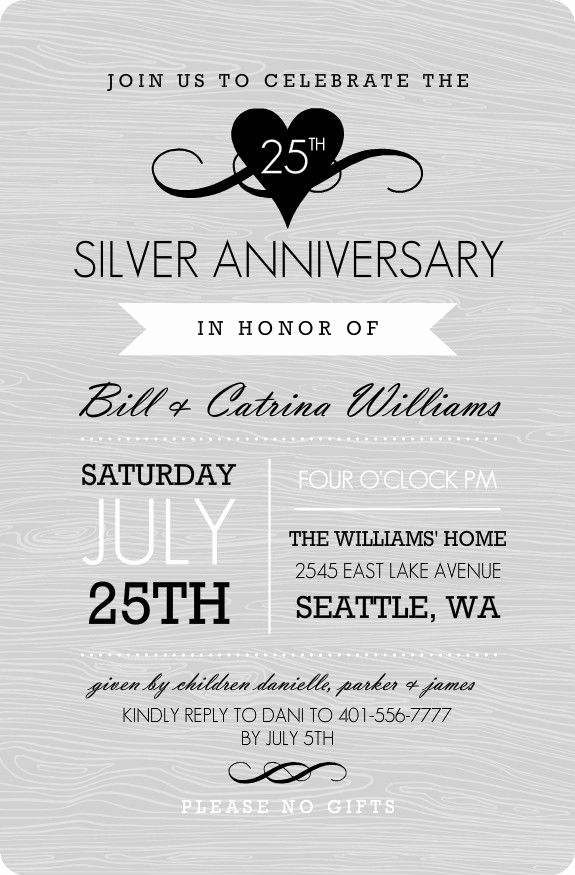 25th Anniversary Invitation Wording Fresh Gray Western Style Silver Anniversary Invitation