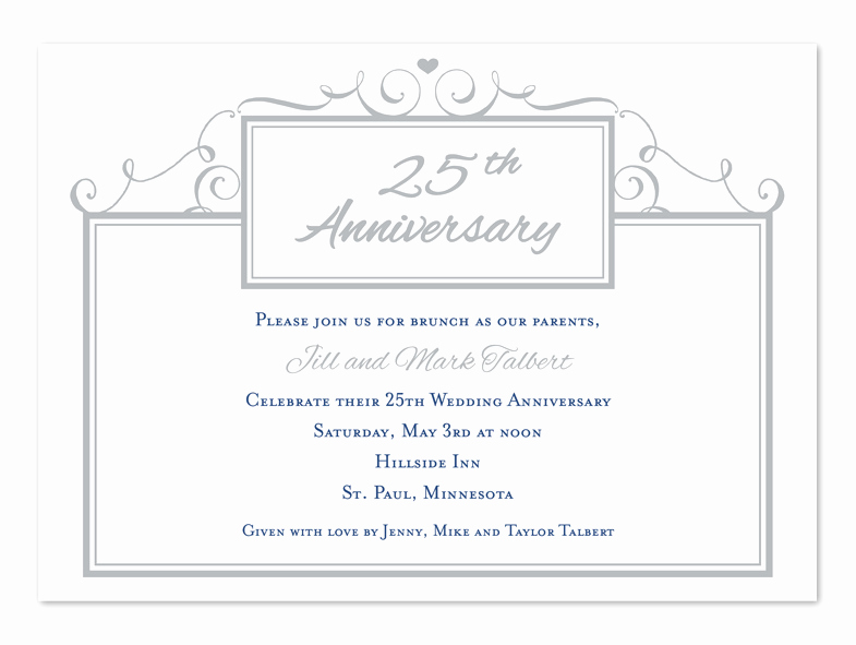 25th Anniversary Invitation Wording Fresh Simple 25th Anniversary Anniversary Invitations by