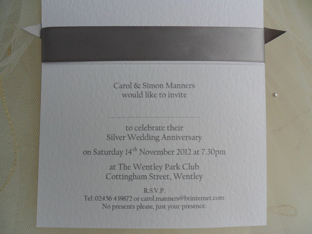 25th Anniversary Invitation Wording Inspirational From £1 25 Each top Ribbon Silver Wedd More Wording