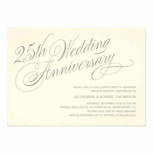 25th Anniversary Invitation Wording Lovely 25th Anniversary Invitations
