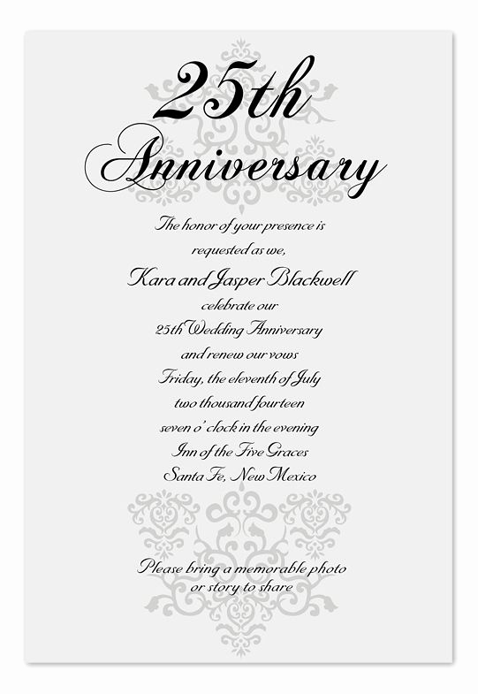 25th Anniversary Invitation Wording Lovely Elegant Anniversary Anniversary Invitations by