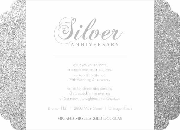 25th Anniversary Invitation Wording Lovely Silver 25th Anniversary Party Invitation