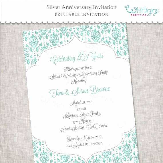25th Anniversary Invitation Wording Luxury 25th Silver Anniversary Printable Invitation by