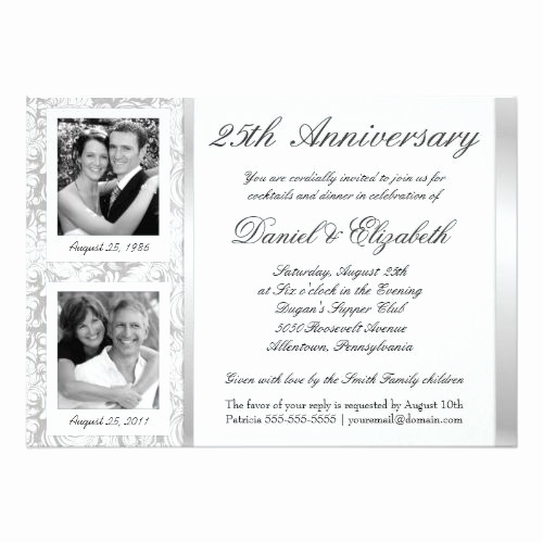 25th Anniversary Invitation Wording Luxury 25th Wedding Anniversary Invitations 25th Anniversary