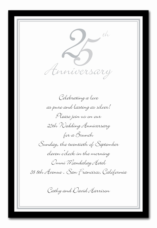 25th Anniversary Invitation Wording New 25th Anniversary Silver Anniversary Invitations by