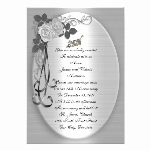 "25th Anniversary Invitation Wording New 25th Anniversary Vow Renewal 5"" X 7"" Invitation Card"