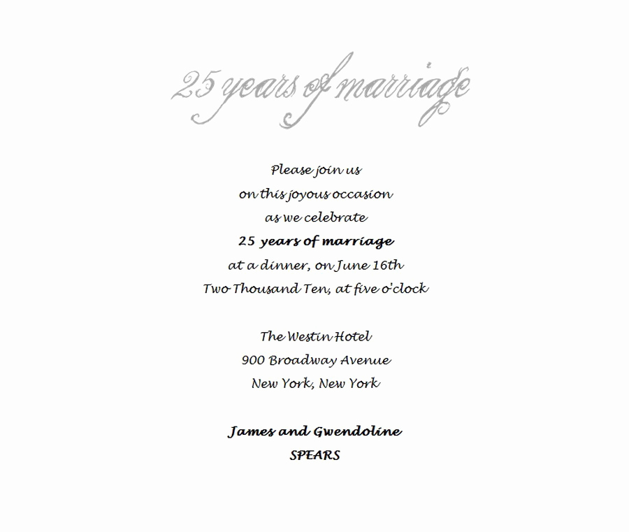 25th Anniversary Invitation Wording New 25th Wedding Anniversary Invitations 4 Wording
