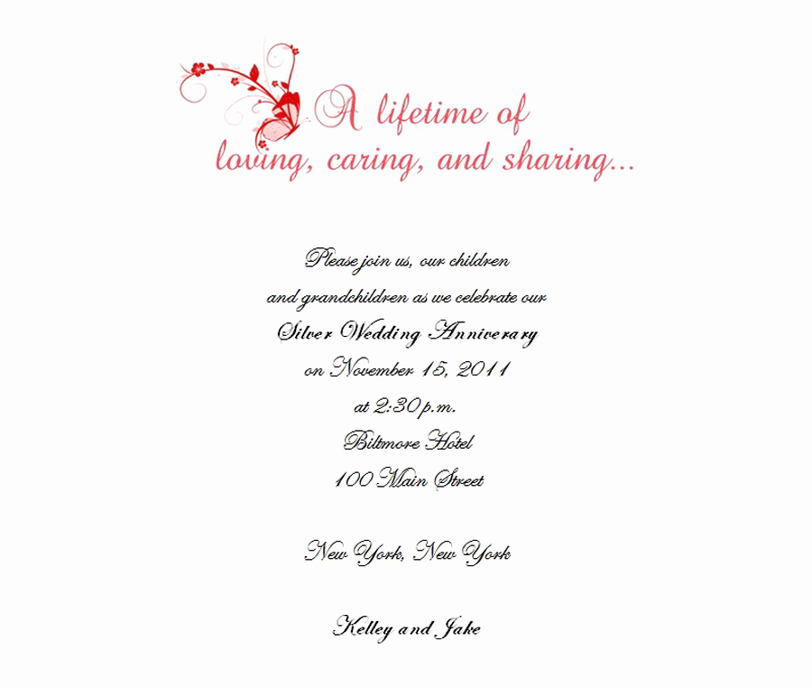 25th Anniversary Invitation Wording New Free Wording by theme