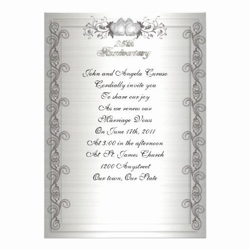 25th Anniversary Invitation Wording New Invitation Wording Ideas for Wedding Vow Renewal with
