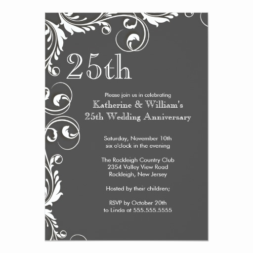 25th Anniversary Invitation Wording Unique 25th Wedding Anniversary Party Invitations