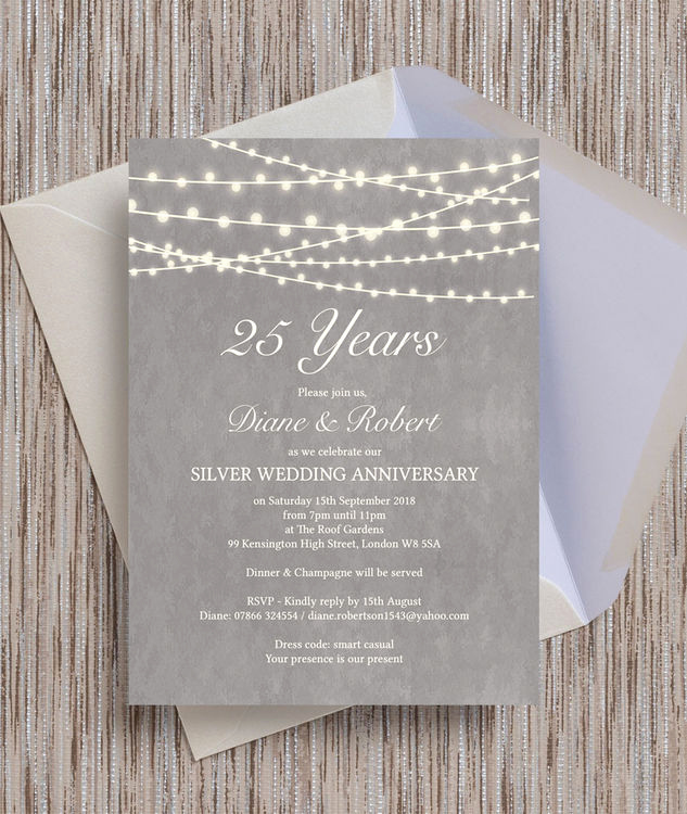 25th Anniversary Invitation Wording Unique Grey Fairy Lights 25th Silver Wedding Anniversary