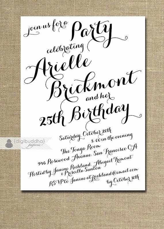 25th Birthday Invitation Wording Awesome Modern Script Birthday Invitation Calligraphy Party