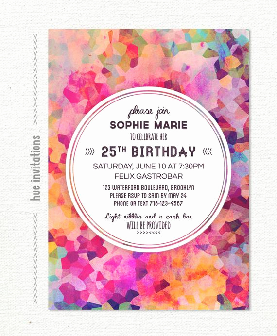 25th Birthday Invitation Wording Beautiful Geometric 25th Birthday Party Invitation Adult Birthday