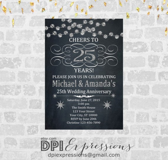 25th Birthday Invitation Wording Elegant Silver Wedding Anniversary Invitation Printable 25th