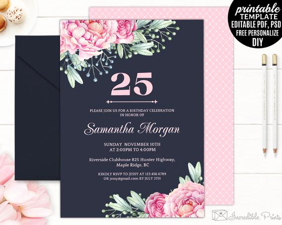 25th Birthday Invitation Wording Lovely Navy 25th Birthday Invitation Template Printable Pink
