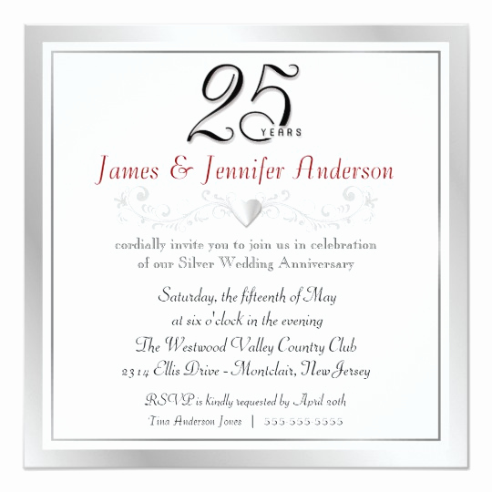25th Birthday Invitation Wording Luxury 25th Anniversary Party Invitations Silver Square