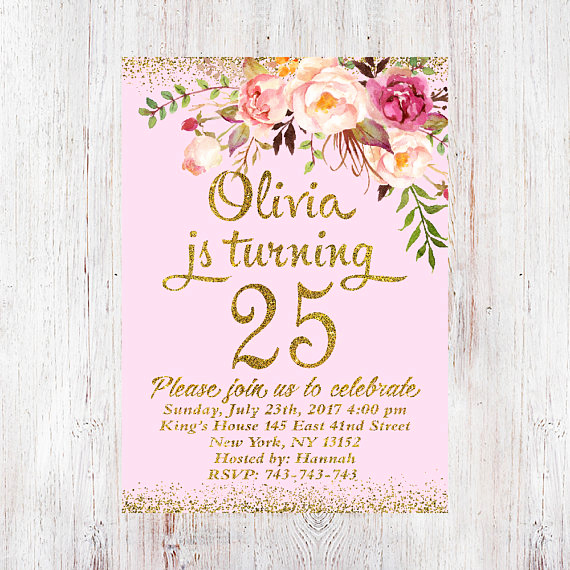 25th Birthday Invitation Wording Luxury 25th Birthday Invitation Any Age Women Birthday Invitation