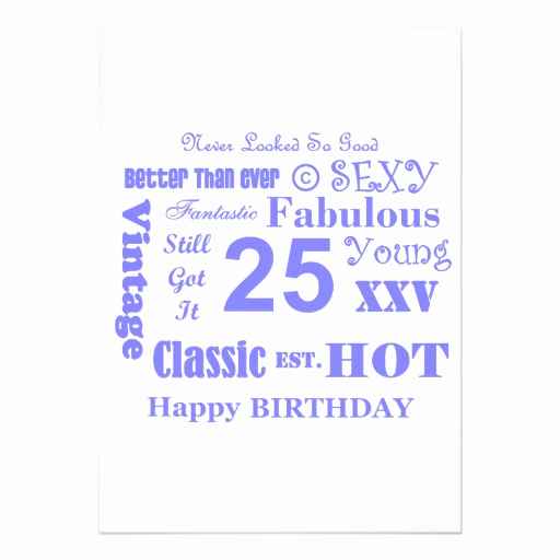 "25th Birthday Invitation Wording Luxury 25th Birthday Party Invitations 5"" X 7"" Invitation Card"