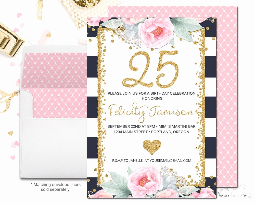 25th Birthday Invitation Wording New Navy and Pink Floral 25th Birthday Invitation by
