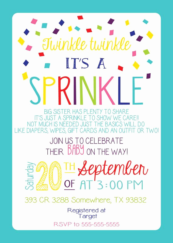 2nd Baby Shower Invitation Wording Awesome Baby Sprinkle Invitation Girl Version Any Color Couples
