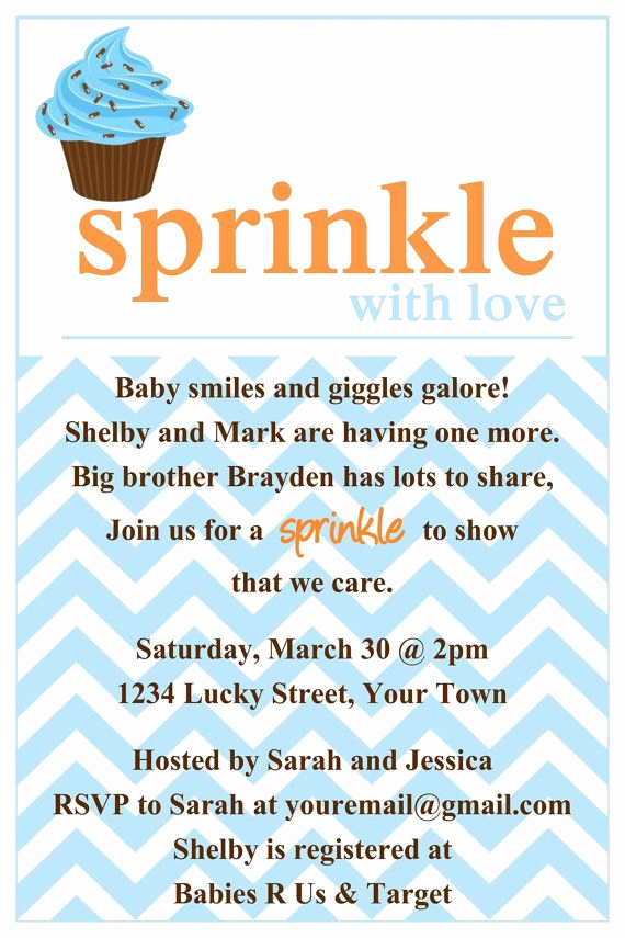 2nd Baby Shower Invitation Wording Beautiful Sprinkle Baby Shower Invitation Template 4x6 by