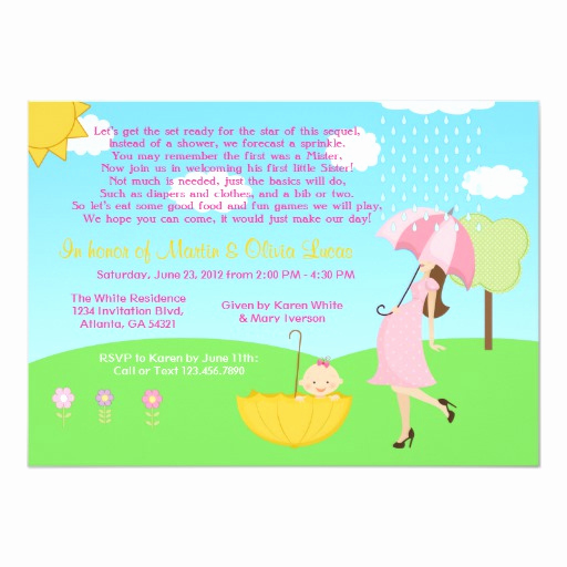 2nd Baby Shower Invitation Wording New Cute Modern Mom and Baby Girl Baby Sprinkle 5x7 Paper