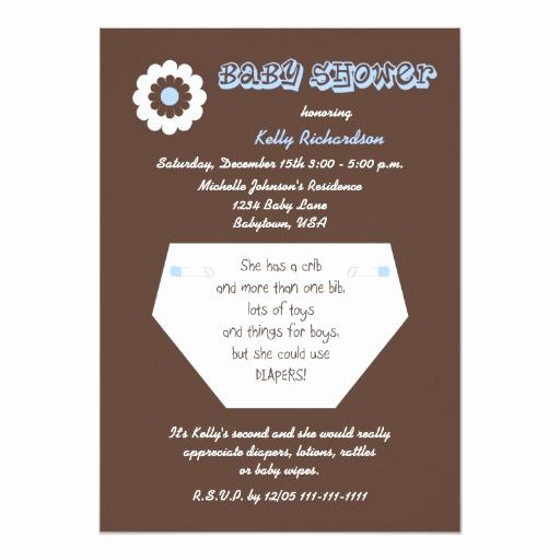 2nd Baby Shower Invitation Wording New Diaper Second Baby Boy Shower Invitation
