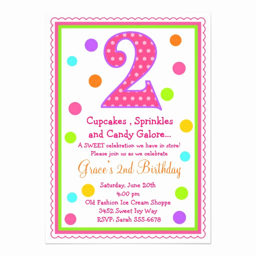 "2nd Birthday Invitation Wording Awesome Sweet Surprise 2nd Birthday Invitation 5"" X 7"" Invitation"