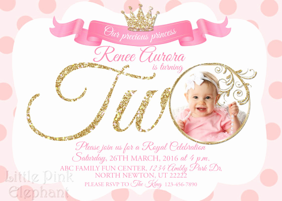 2nd Birthday Invitation Wording Beautiful Second Birthday Invitation Girl Princess Invitation Royal