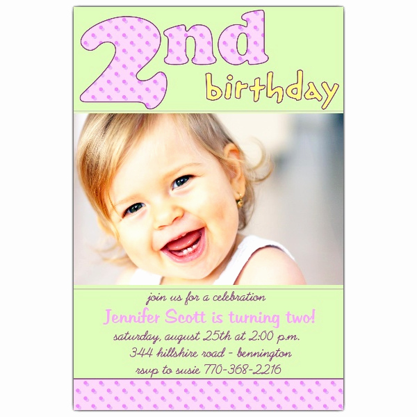 2nd Birthday Invitation Wording Best Of 2nd Birthday Pink Invitations