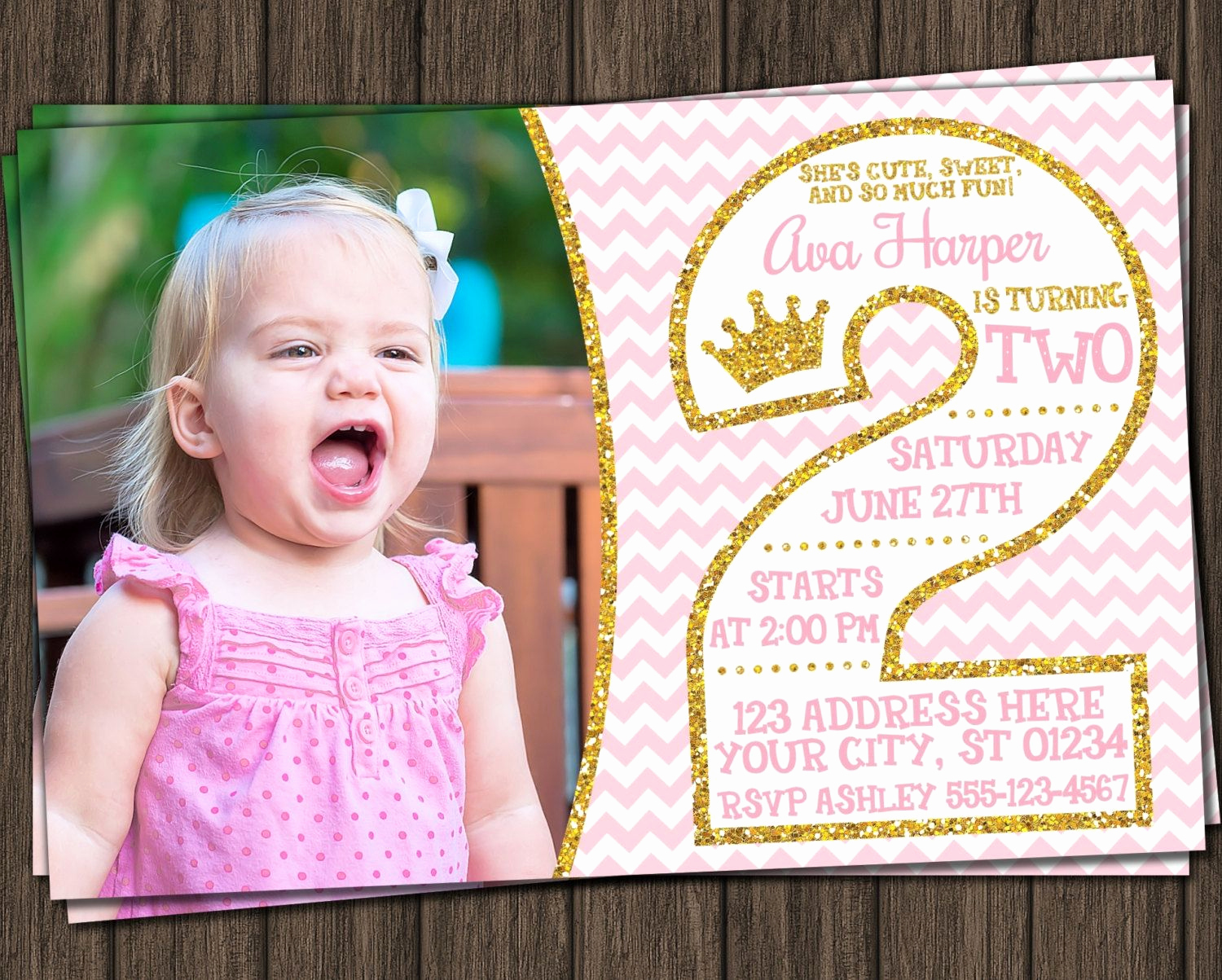 2nd Birthday Invitation Wording Best Of Princess 2nd Birthday Invitation In Pink and Gold with