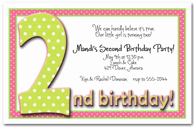 2nd Birthday Invitation Wording Elegant 2nd Birthday Invitation Templates Cobypic
