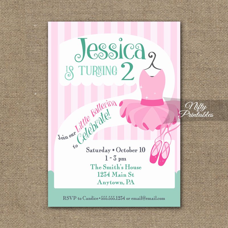 2nd Birthday Invitation Wording Inspirational 2nd Birthday Invitation Ballet Tutu Invitation Nifty