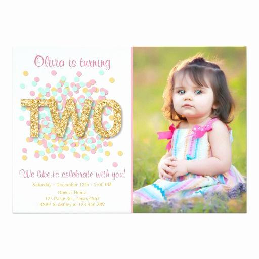 2nd Birthday Invitation Wording Luxury Second Birthday Invitation Girl Pink Gold Mint Two