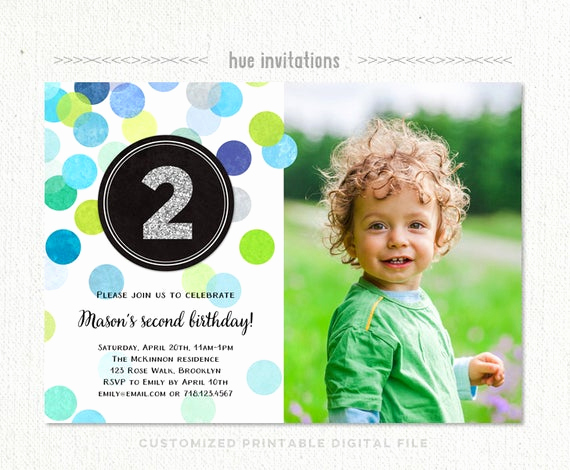2nd Birthday Invitation Wording Unique 2nd Birthday Invitation Boy Blue Green Silver Glitter Second