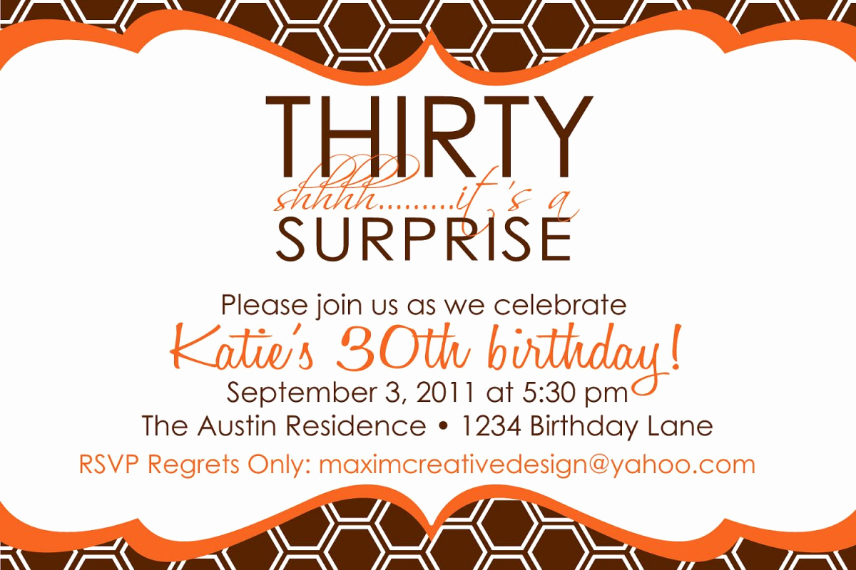 30th Birthday Invitation Ideas Best Of Printable Surprise 30th Birthday Invitations