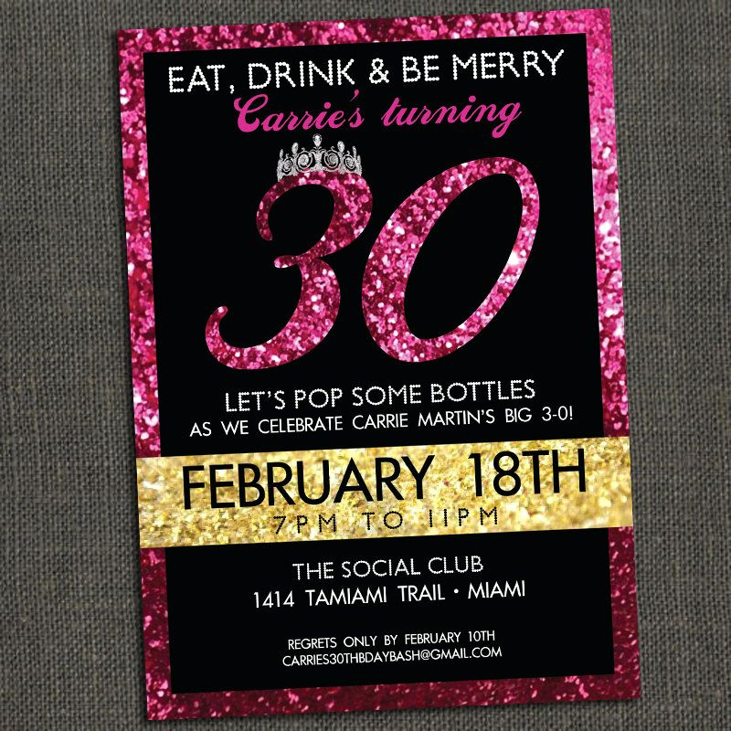 30th Birthday Invitation Ideas Best Of Sparkly Birthday Invitation 30th 40th 50th or Any Age