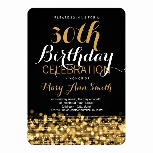 30th Birthday Invitation Ideas Fresh Elegant 30th Birthday Party Sparkles Gold Invitation