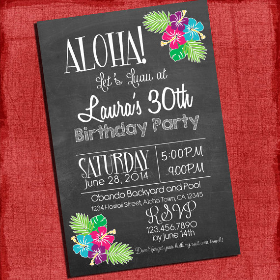 30th Birthday Invitation Ideas Unique Printable Hawaiian Luau 30th 40th 50th Birthday Chalk Style