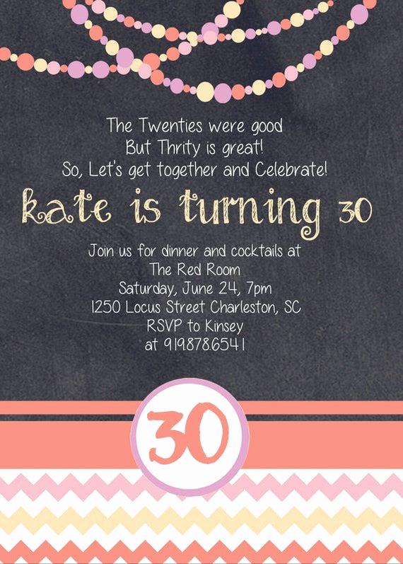 30th Birthday Invitation Sayings Beautiful Chalkboard 30th Birthday Invitation