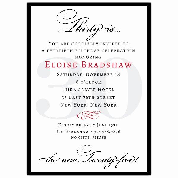 30th Birthday Invitation Sayings Elegant Classic 30th Birthday Milestone Invitations