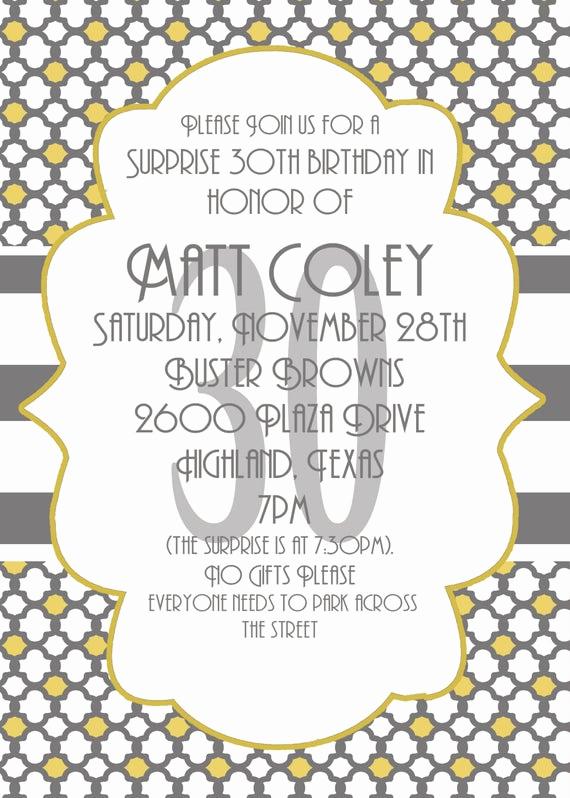 30th Birthday Invitation Sayings Elegant Surprise Party Invitation 30th Birthday Invitation Digial