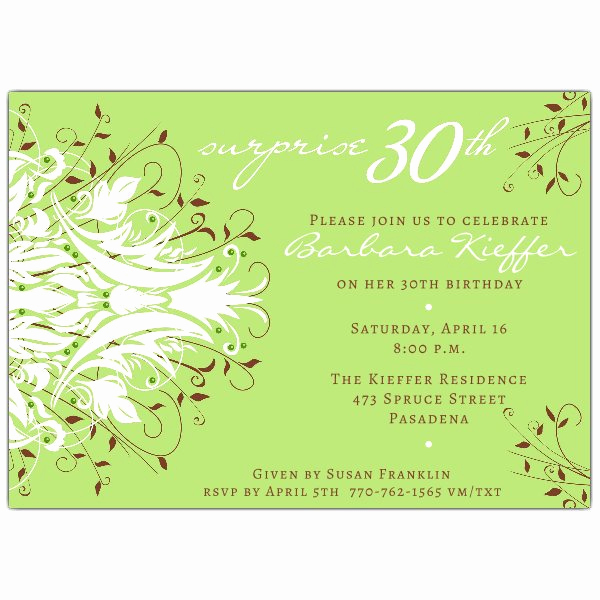 30th Birthday Invitation Sayings Fresh andromeda Green Surprise 30th Birthday Invitations