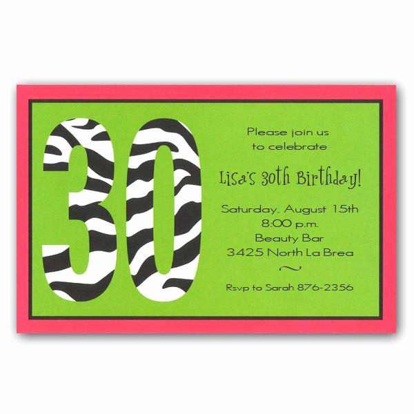 30th Birthday Invitation Sayings Fresh Zebra 30th Birthday Invitations Clearance