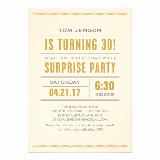 "30th Birthday Invitation Sayings Lovely Big Type 30th Birthday Surprise Party Invitations 5"" X 7"