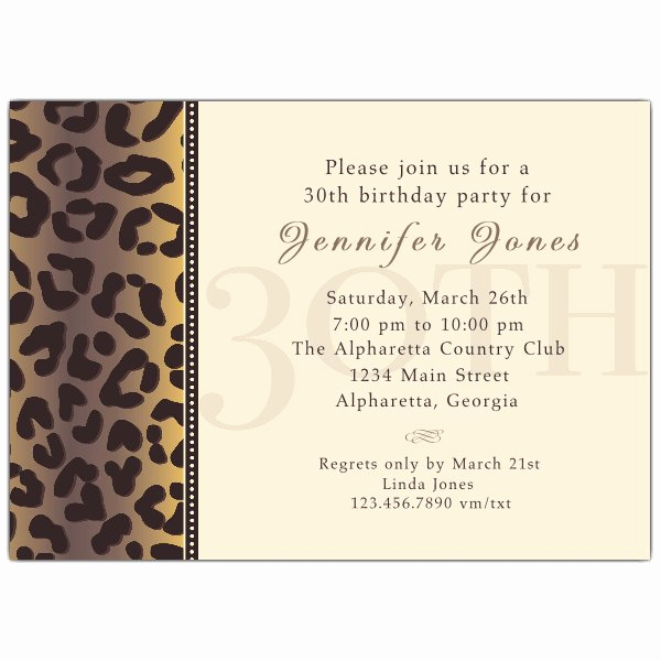 30th Birthday Invitation Sayings Unique Cheetah 30th Birthday Invitations