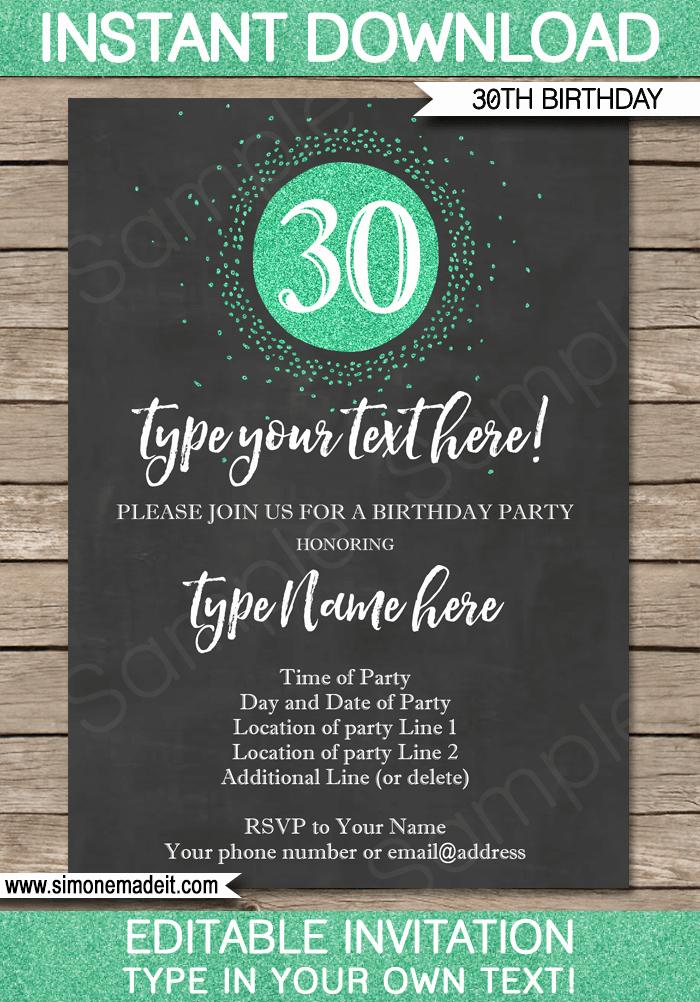 30th Birthday Invitation Templates Elegant 30th Birthday Invitation Template
