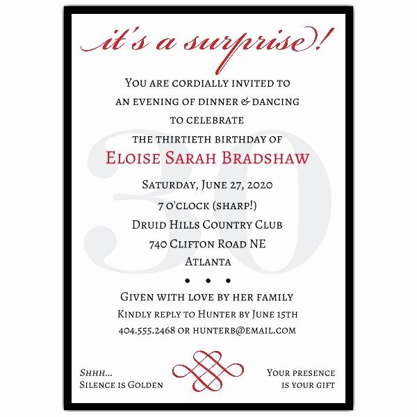 30th Birthday Invitation Templates Elegant Classic 30th Birthday Red Surprise Invitations
