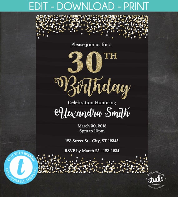 30th Birthday Invitation Templates New 30th Birthday Invitation 30th Birthday Invite Black and