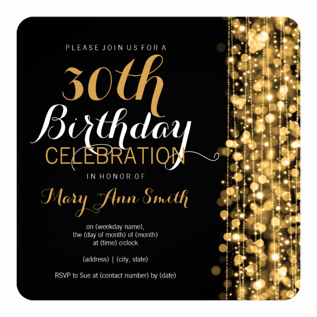 30th Birthday Invitation Templates Unique Elegant Gold 30th Birthday Party Sparkles Invitation